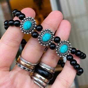 Double row genuine onyx beads turquoise bracelet
